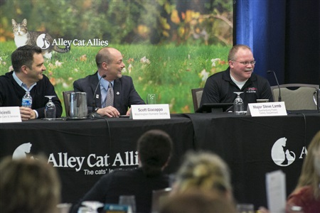 Jon Cicirelli of San Jose Animal Care and Services, Scott Giacoppo of Washington Humane Society, and Major Steve Lamb of the Spartanburg Public Safety Department share their Trap-Neuter-Return success stories.