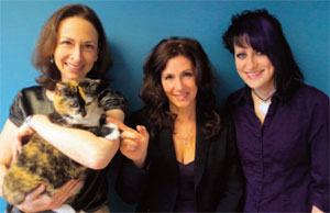 NFCD Team: Rebecca Katz, Office Cat Jazzy, Juliana deRosa, and Sophie Wilmot