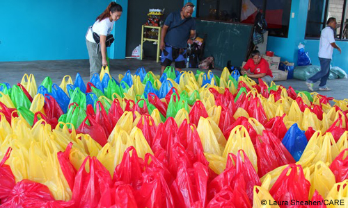 goodwill's typhoon response, packets of food, good will charity