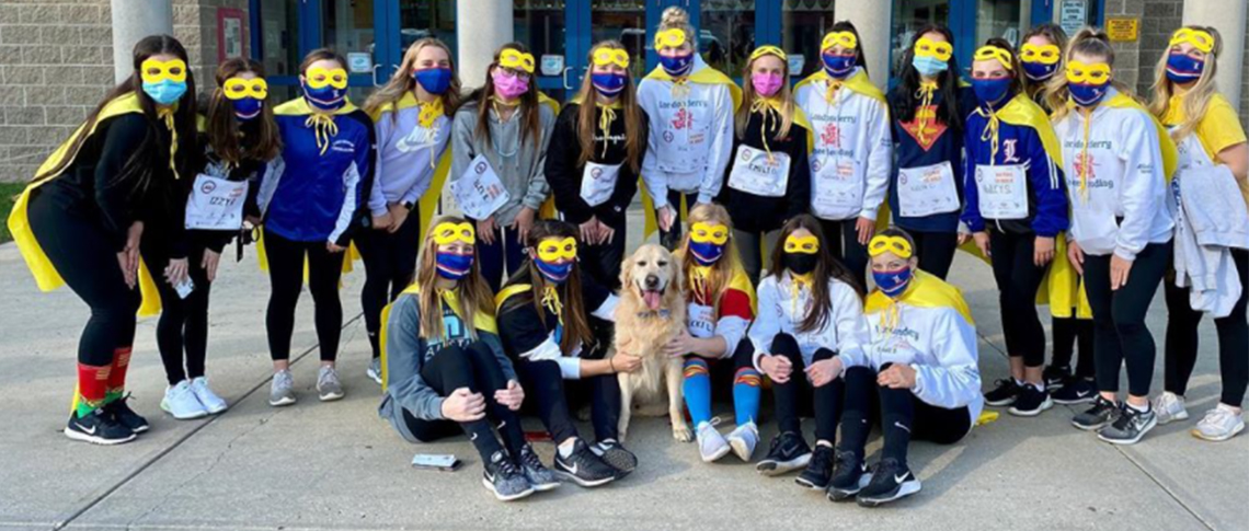 Lancer cheerleaders participate in a Virtual CHaD HERO event in 2020