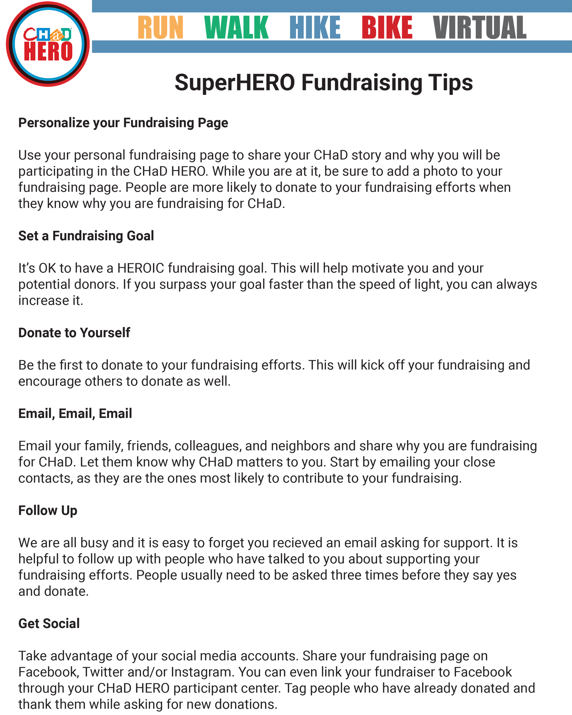 2021 CHaD HERO Fundraising Tips