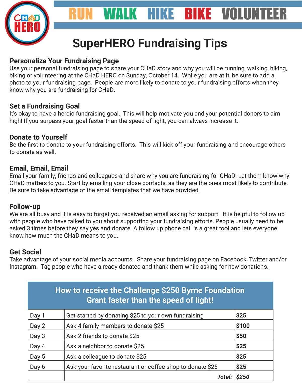 SuperHERO Fundraising Tip Sheet