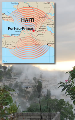 Map of quake and photo of the dust