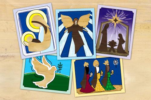 Set of 10 Banana Bark Color Christmas Cards