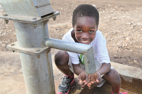 Water pump for a community