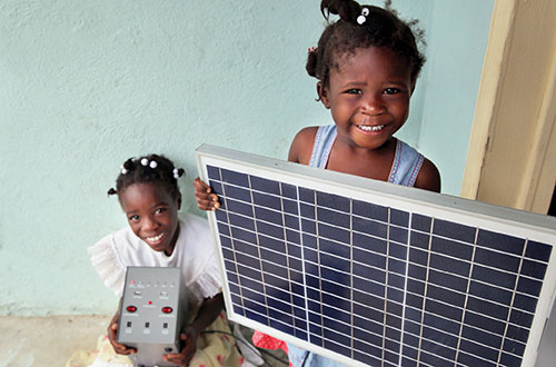 Provide a solar-powered light kit for a home