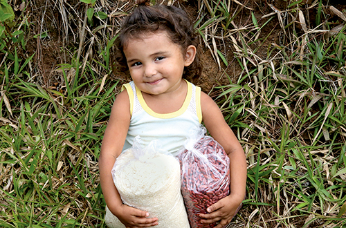 Provide 100 lbs. of rice and beans