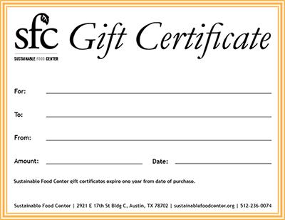 SFC Gift Certificate
