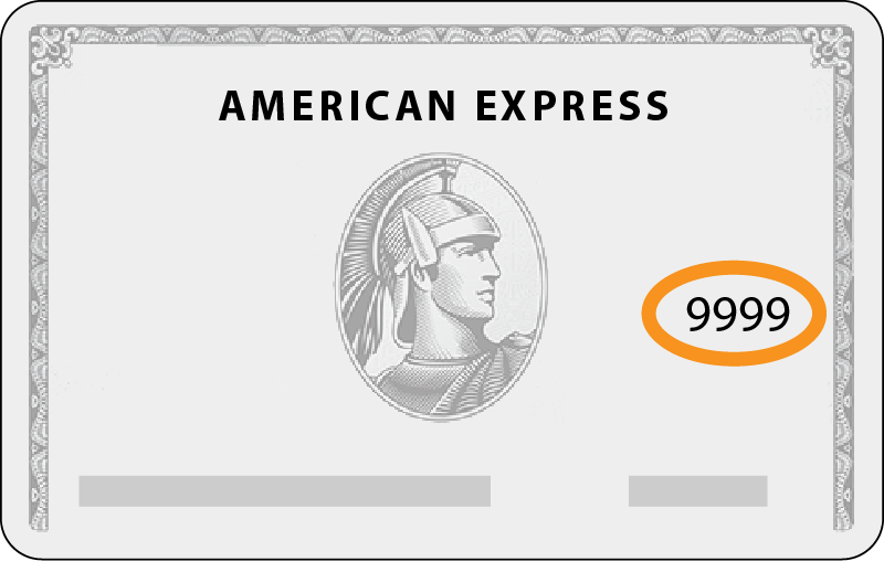 Front side of an AmEx card with 4-digit CVV number circled