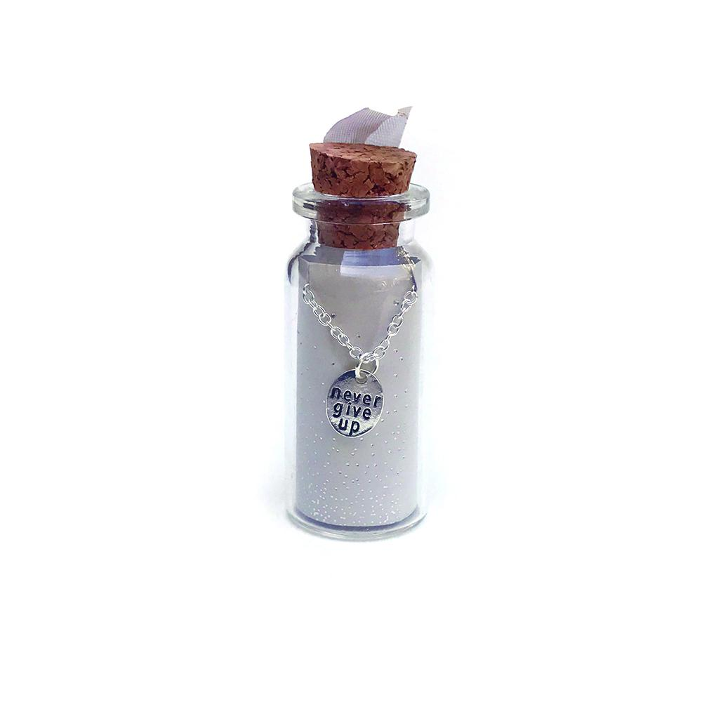 bottle necklace never give up