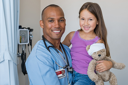 Nurse with young girl