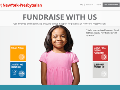 NYP Crowdfunding site home page
