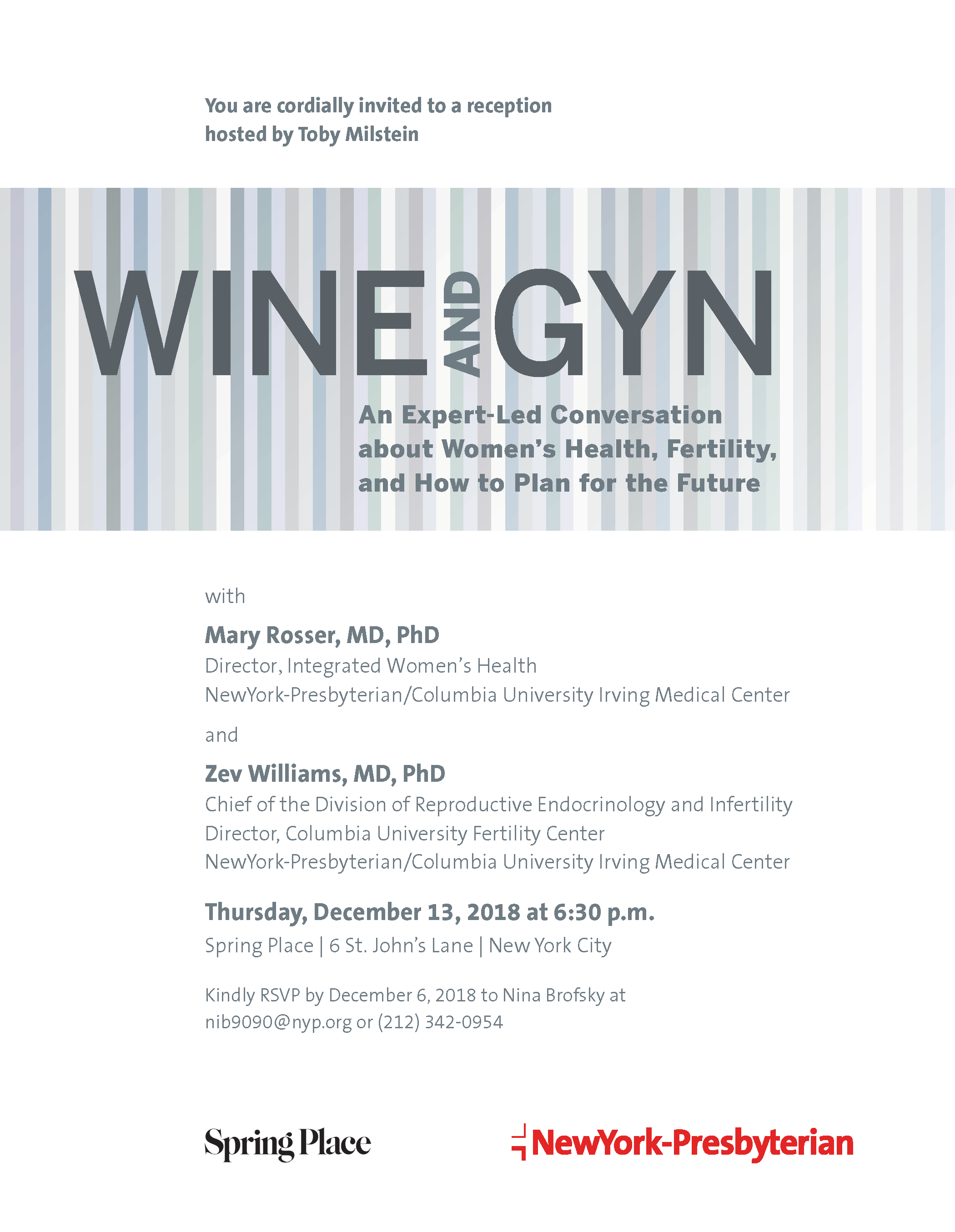 NYP Wine and GYN December 2018 Invitation