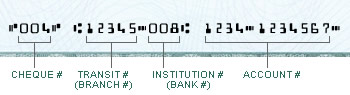 photo of cheque describing where to find the numbers above