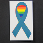 Click here for more information about SP-17-02 - Rainbow Teal Ribbon Temporary Tattoos  (sold in packs of 20) While Supplies Last