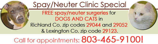 FREE Spay/Neuter Surgeries for DOGS in Zip Codes, 29044, 29052 and 29123! Call 803-465-9100 for appointment!