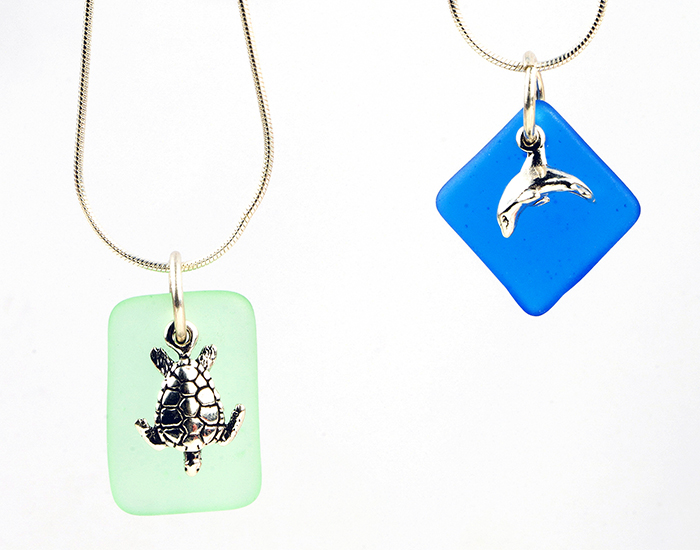 Sea Turtle and Dolphin Seaglass Necklace