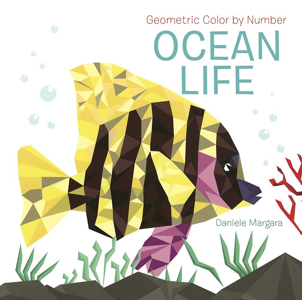 geometric color by number book with yellow and black tropical fish on cover