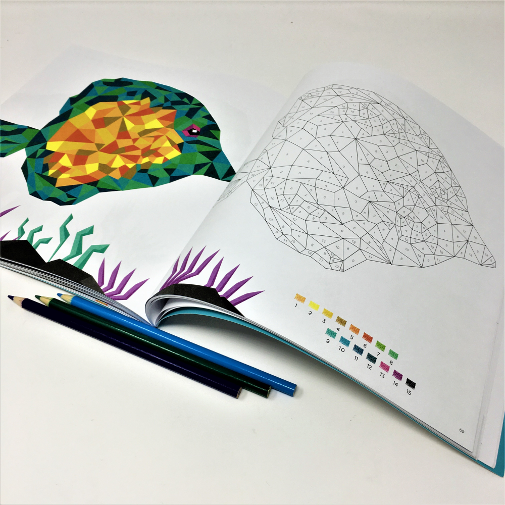 geometric color by number book sample page with multi-colored fish