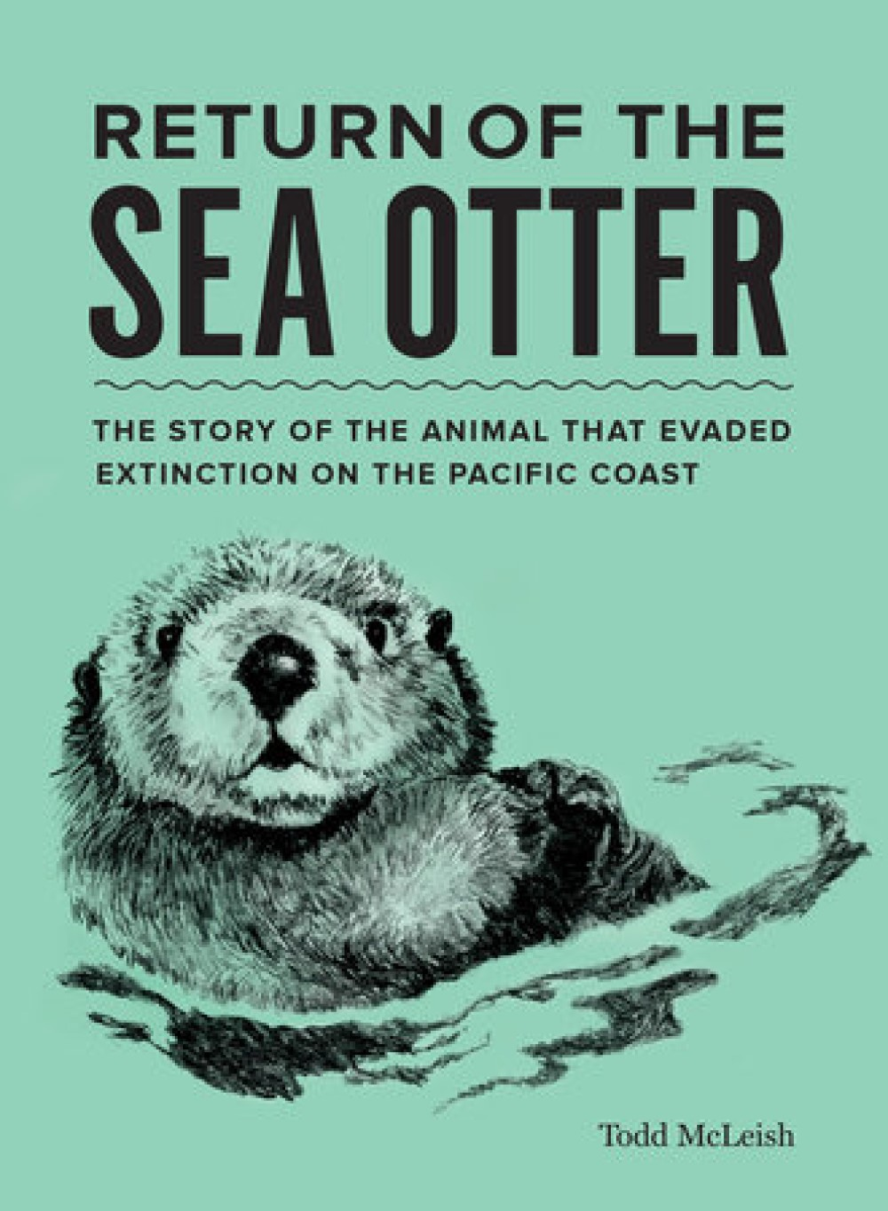 sea green book cover with sea otter illustration