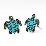 Click here for more information about Turtle Earrings - Post