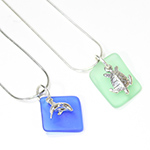 Seaglass Necklace - Sea Turtle or Dolphin